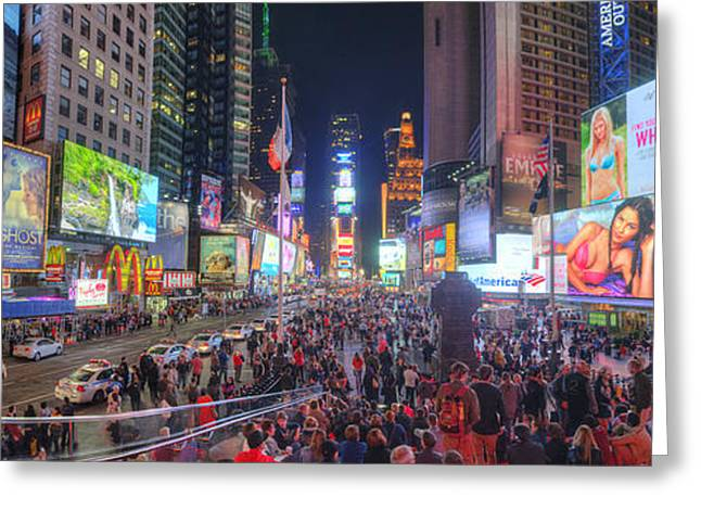 Popular Art Greeting Cards - NYC Times Square Panorama Greeting Card by Yhun Suarez
