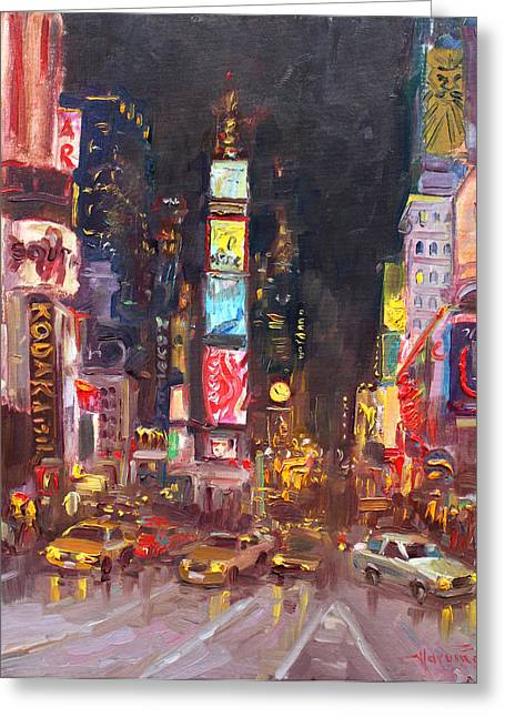 New York Times Greeting Cards - NYC Times Square Greeting Card by Ylli Haruni