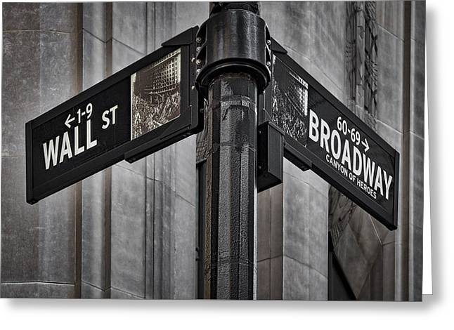 Nyc Wall Street And Broadway Sign Greeting Card by Susan Candelario