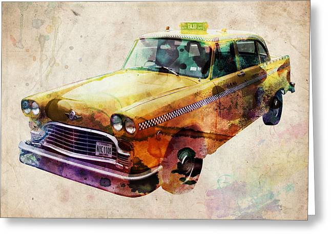 Nyc Greeting Cards - NYC Yellow Cab Greeting Card by Michael Tompsett