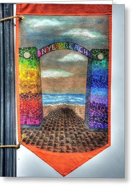 Kite Greeting Cards - Nye Beach Banner 2205 Greeting Card by Jerry Sodorff