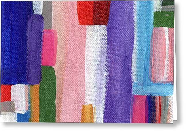 Yellow Line Paintings Greeting Cards - Nyhavn- Abstract Painting Greeting Card by Linda Woods