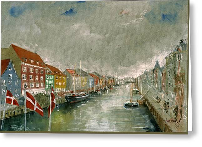 Palace Greeting Cards - Nyhavn Copenhagen Greeting Card by Juan  Bosco