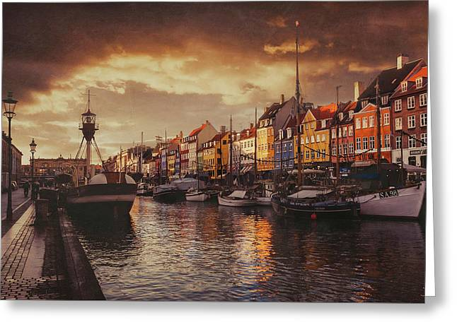 Nyhavn Sunset Copenhagen Greeting Card by Carol Japp