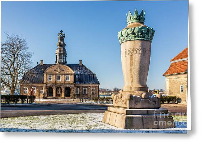Danish Military Greeting Cards - Nyholm Central Guardhouse Holmen naval base Copenhagen Denmark Greeting Card by Kim Petersen