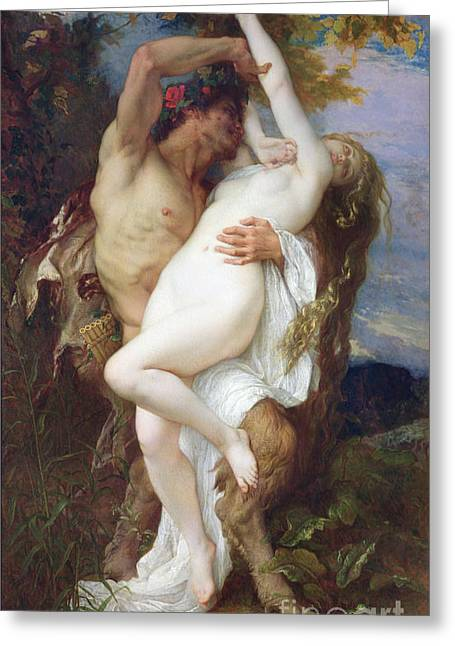 Alexandre Greeting Cards - Nymph Abducted by a Faun Greeting Card by Alexandre Cabanel