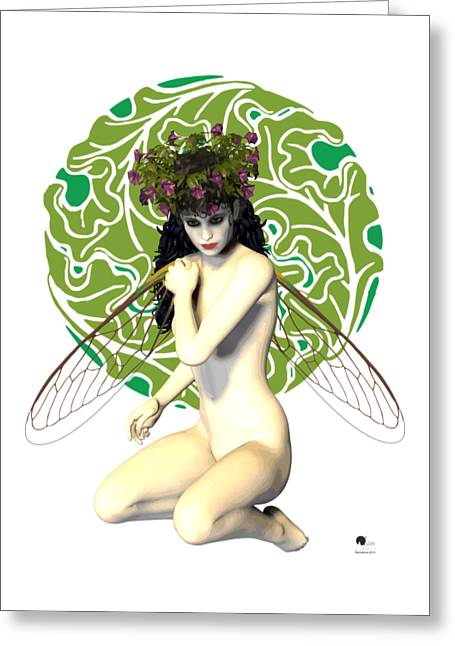 Transparent Drawings Greeting Cards - Nymph Art Nouveau Greeting Card by Joaquin Abella