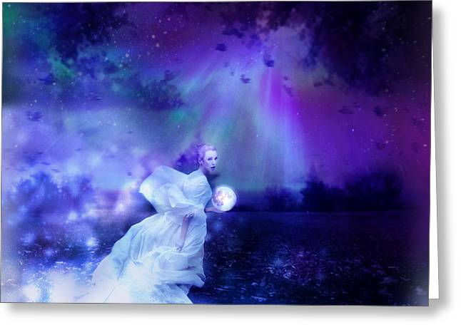 Moon Fairies Blue Snow Woman Greeting Cards - Nymph of December Greeting Card by Lilia D