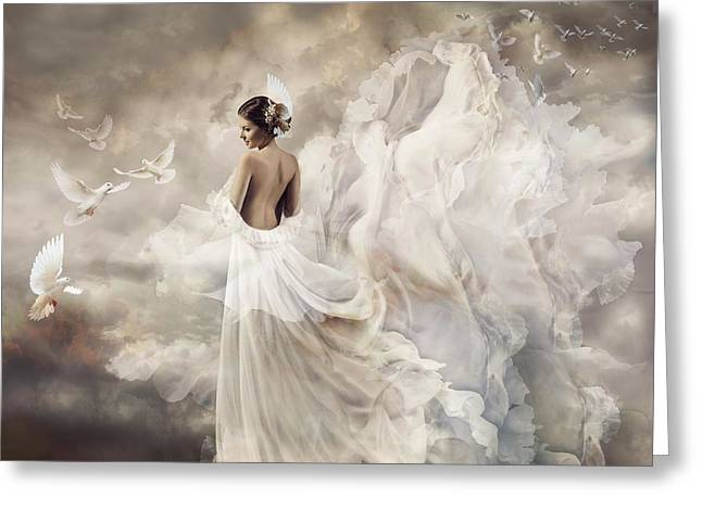 Floating Girl Greeting Cards - Nymph of the sky Greeting Card by Lilia D