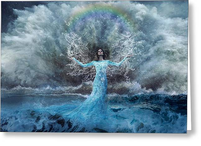 Storm Prints Greeting Cards - Nymph of  the Water Greeting Card by Lilia D