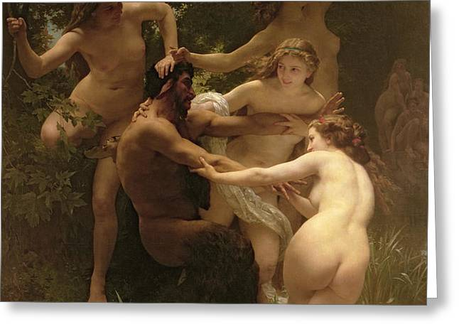 Nymphs and Satyr Greeting Card by William Adolphe Bouguereau