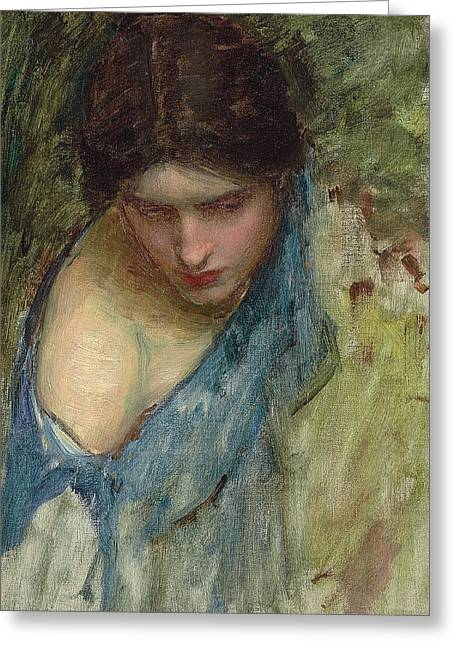 Rosy Greeting Cards - Nymphs Finding the Head of Orpheus Greeting Card by John William Waterhouse