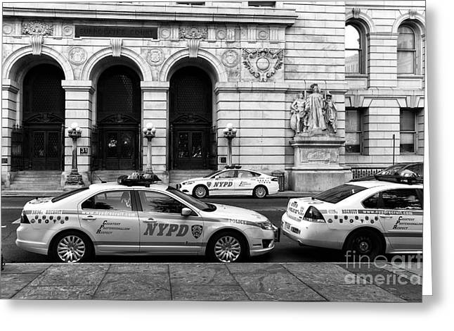 Nypd Greeting Cards - NYPD Cars mono Greeting Card by John Rizzuto
