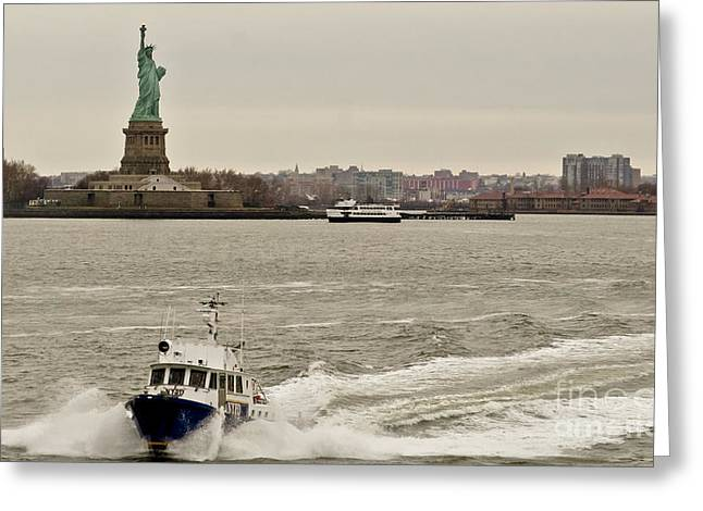 Ny Police Department Greeting Cards - NYPD motor boat. Greeting Card by Elena Perelman