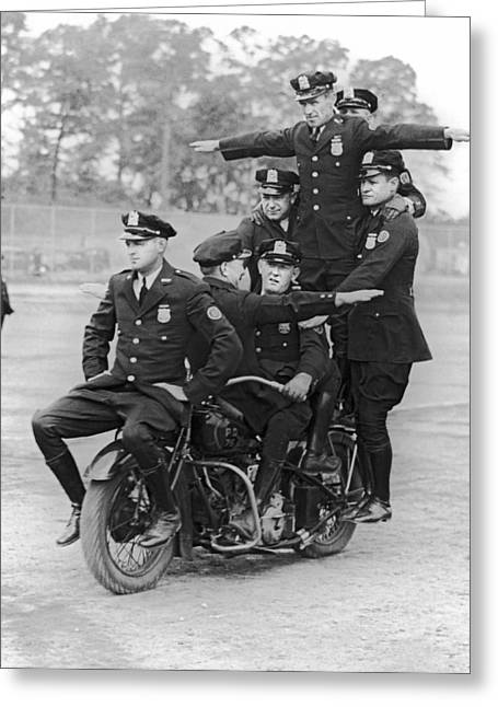 Nypd Motorcycle Stunts Greeting Card by Underwood Archives