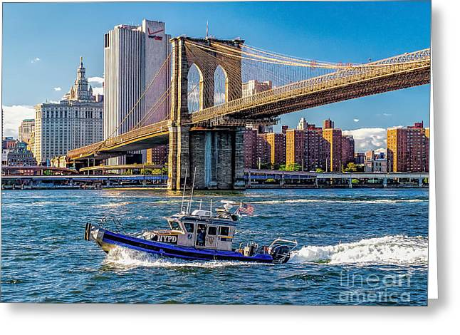 Nypd On East River Greeting Card by Nick Zelinsky