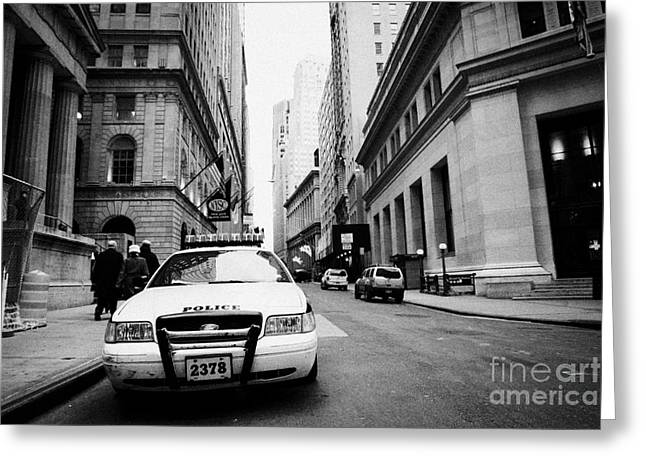 Police Department Greeting Cards - Nypd Police Patrol Car Parked In Wall Street Downtown New York City Greeting Card by Joe Fox