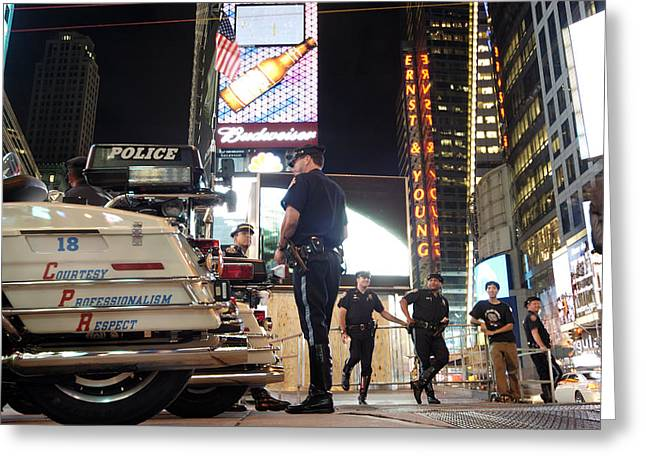 Nypd Times Square Greeting Card by Robert Lacy