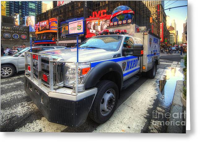Nypd Greeting Cards - NYPD Truck Greeting Card by Yhun Suarez