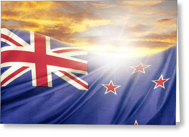 Flags Flying Greeting Cards - NZ flag  Greeting Card by Les Cunliffe