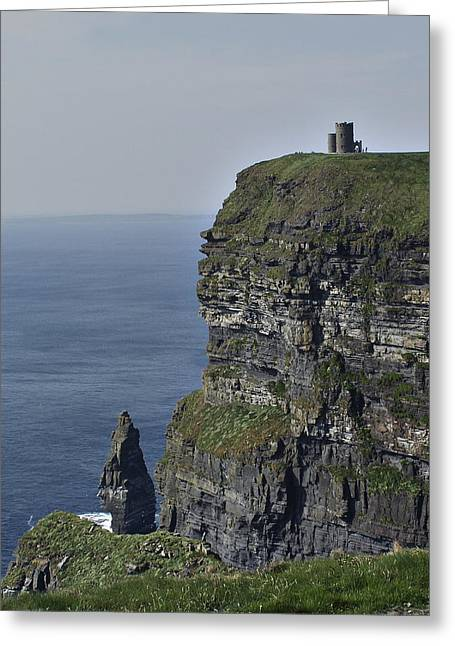 Cliffs Of Moher Greeting Cards - O Briens Tower at the Cliffs of Moher Ireland Greeting Card by Teresa Mucha