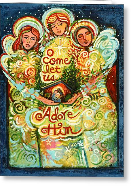 O Come Let Us Adore Him With Angels Greeting Card by Jen Norton