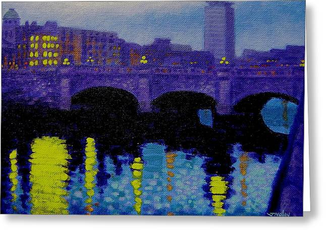 Restaurant Art Greeting Cards - O Connell Bridge - Dublin Greeting Card by John  Nolan
