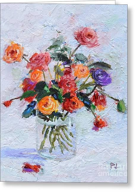 O Lord Greeting Cards - O Give Thanks  Unto the Lord - Psalm 118 1a - Roses in a Glass - Impressionist Floral Painting Greeting Card by Philip Jones