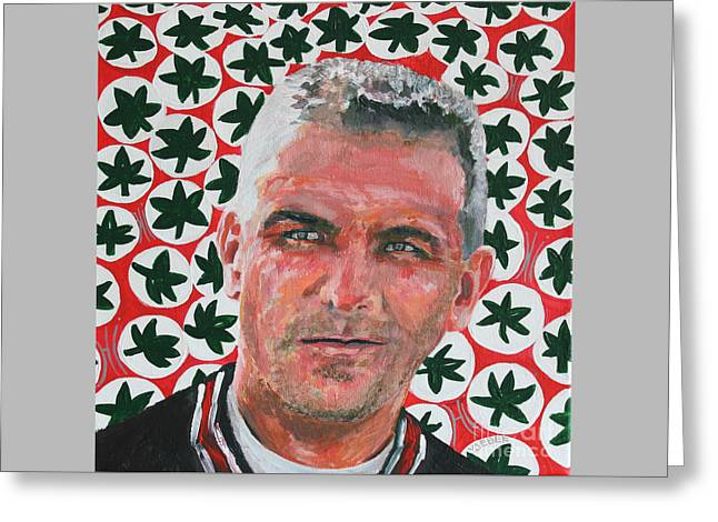 Football Collectibles Greeting Cards - O H  Urban Meyer Portrait Greeting Card by Robert Yaeger