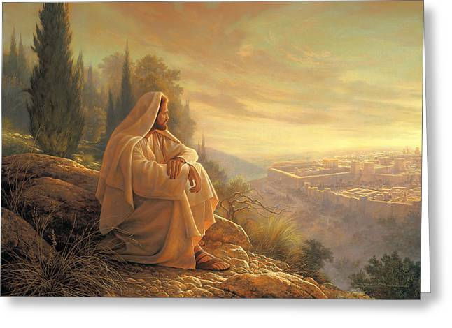 Jesus Christ Paintings Greeting Cards - O Jerusalem Greeting Card by Greg Olsen