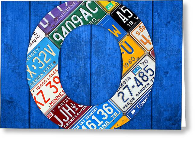 Blue Background Greeting Cards - O License Plate Letter Art Blue Background Greeting Card by Design Turnpike