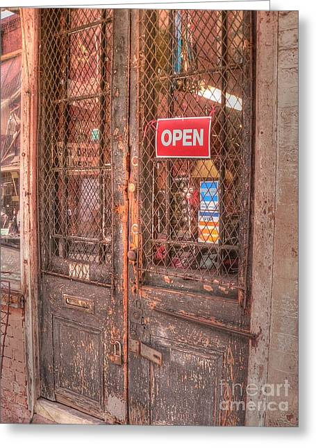 French Doors Greeting Cards - O P E N Greeting Card by David Bearden