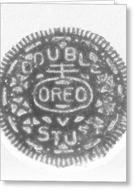 Oreo Greeting Cards - O R E O in BLACK NEGATIVE Greeting Card by Rob Hans