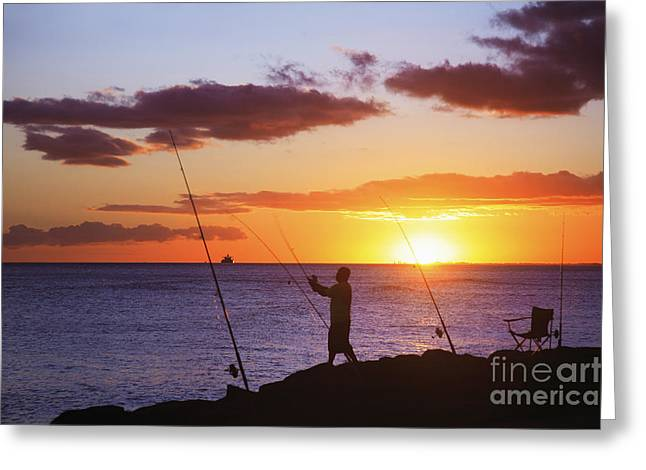 Holden Beach Greeting Cards - Oahu Fisherman Greeting Card by Brandon Tabiolo - Printscapes