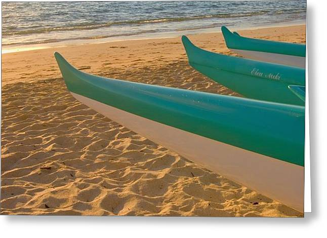 Oahu, Outrigger Canoes Greeting Card by Tomas del Amo - Printscapes