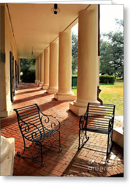 Lawn Chair Greeting Cards - Oak Alley Porch Greeting Card by Perry Webster