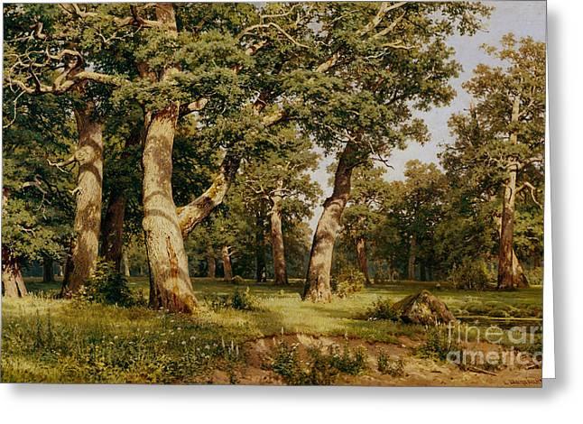 Oak Grove Greeting Card by Ivan Ivanovich Shishkin