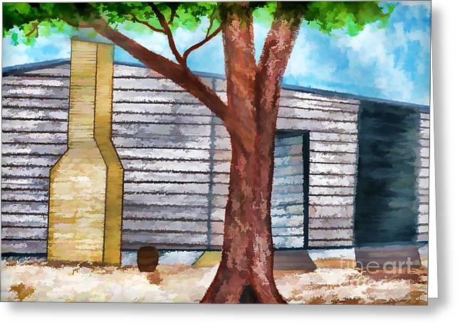 Oak Tree By The Cracker Cabin Greeting Card by D Hackett