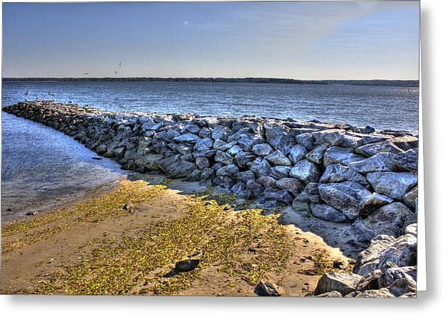 Warwick Digital Greeting Cards - Oakland Beach Rock Wall Greeting Card by Ryan McAssey