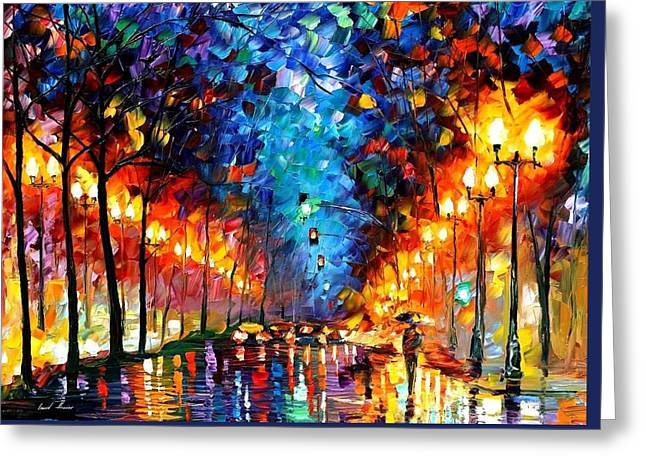 Popular Art Greeting Cards - Oakland Rain - PALETTE KNIFE Oil Painting On Canvas By Leonid Afremov Greeting Card by Leonid Afremov