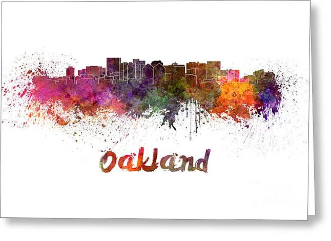 Oakland Paintings Greeting Cards - Oakland skyline in watercolor Greeting Card by Pablo Romero