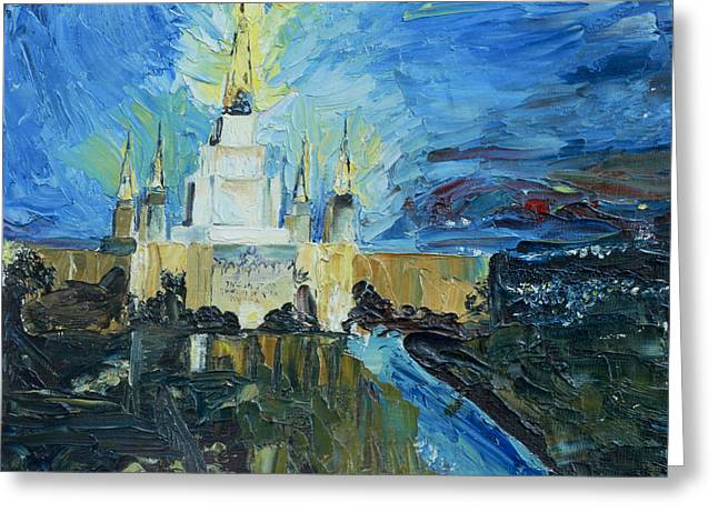 Oakland Paintings Greeting Cards - Oakland Temple Greeting Card by Jane Autry