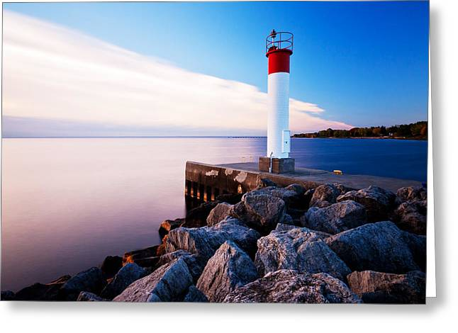 Moody Dusk Framed Prints Greeting Cards - Oakville Lighthouse Greeting Card by Alapati Gallery