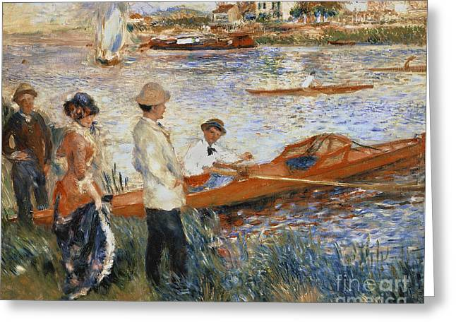 Boats. Water Greeting Cards - Oarsmen at Chatou Greeting Card by Pierre Auguste Renoir