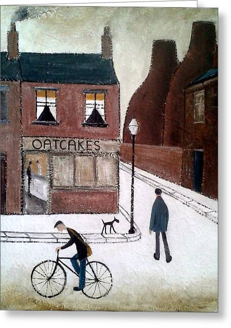House Pet Greeting Cards - British Industrial Northern Art Landscapes - Oatcakes and Bottle Ovens Greeting Card by Walker Scott