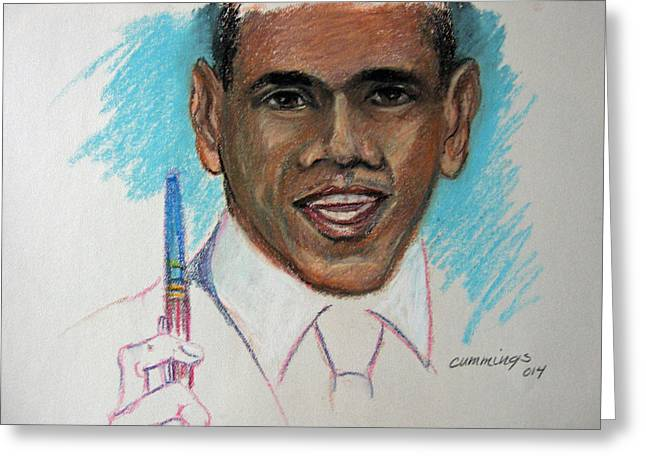 President Pastels Greeting Cards - Obama and his pen Greeting Card by John Cummings