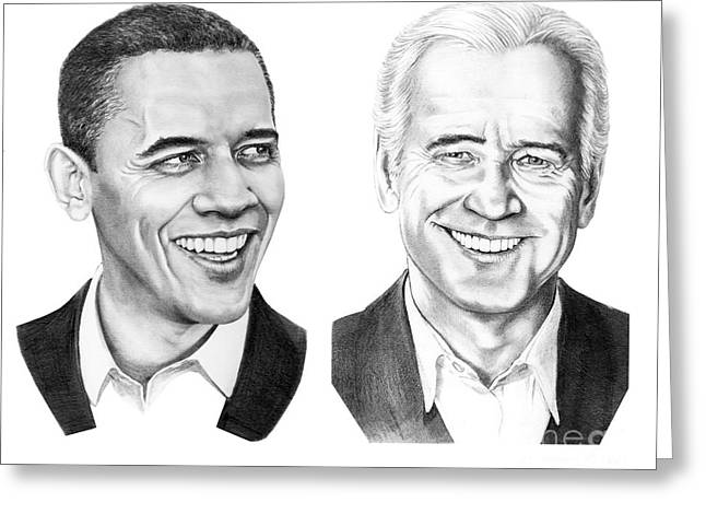 Vice President Biden Greeting Cards - Obama Biden Greeting Card by Murphy Elliott