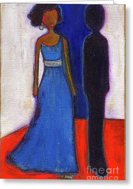 Best Sellers -  - Michelle Obama Paintings Greeting Cards - Obama Black and Blue Greeting Card by Ricky Sencion