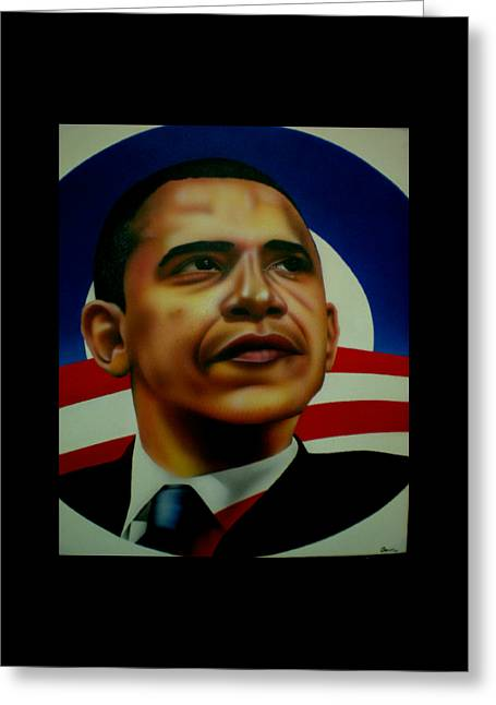 First Black President Greeting Cards - Obama Greeting Card by Brett Sauce