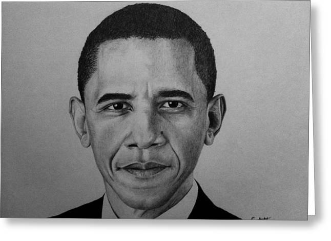 Obama Greeting Card by Carlos Velasquez Art